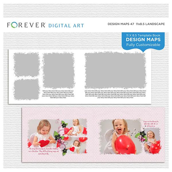 Forever Design Maps 47 - 11x8.5 Digital Art - Digital Scrapbooking Kits