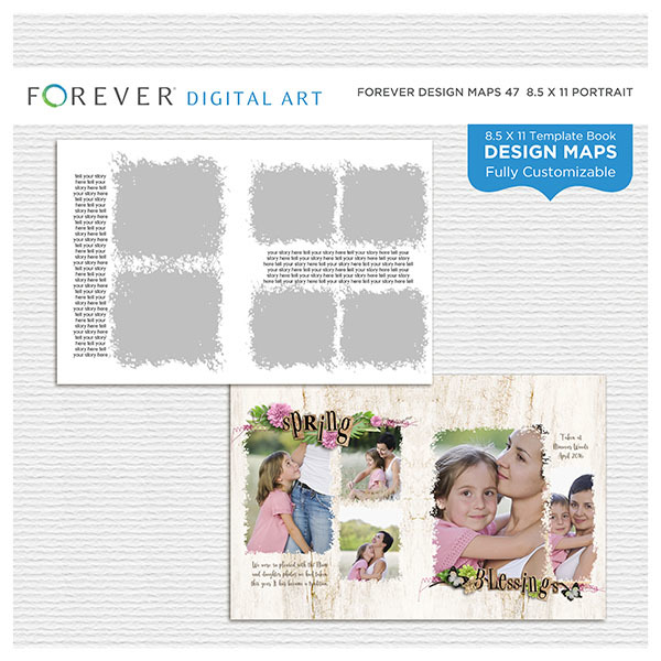 Forever Design Maps 47 - 8.5x11 Digital Art - Digital Scrapbooking Kits