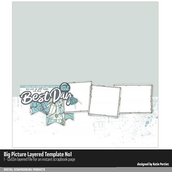 Big Picture Layered Templates No. 01 Digital Art - Digital Scrapbooking Kits