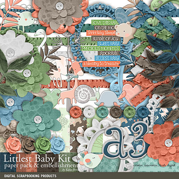Littlest Baby Kit Digital Art - Digital Scrapbooking Kits
