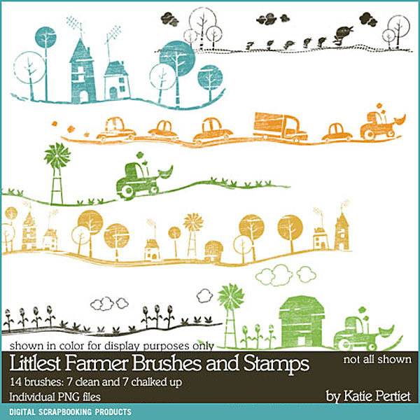 Littlest Farmer Brushes and Stamps Digital Art - Digital Scrapbooking Kits
