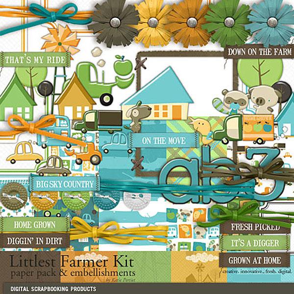 Littlest Farmer Kit Digital Art - Digital Scrapbooking Kits