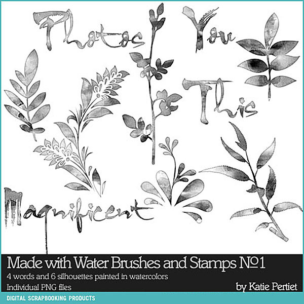 Made with Water Brushes and Stamps No. 01 Digital Art - Digital Scrapbooking Kits