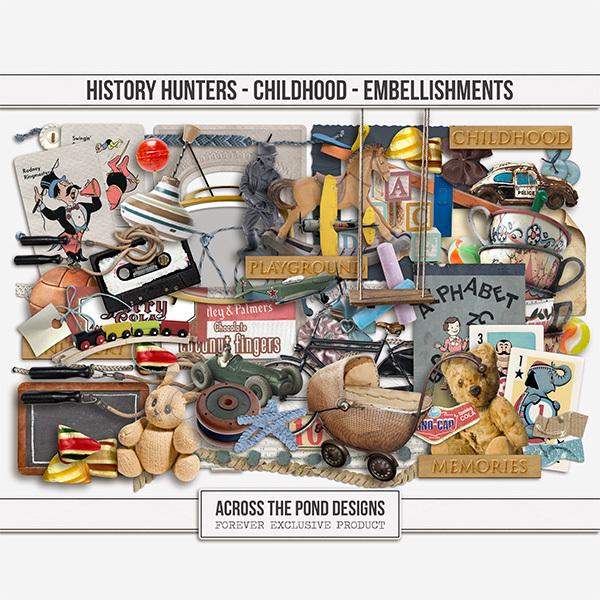 History Hunters - Childhood  - Embellishments Digital Art - Digital Scrapbooking Kits
