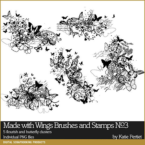 Made with Wings Brushes and Stamps No. 03 Digital Art - Digital Scrapbooking Kits