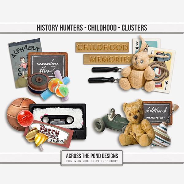 History Hunters - Childhood  - Clusters Digital Art - Digital Scrapbooking Kits