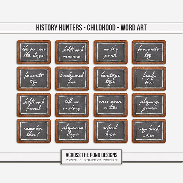 History Hunters - Childhood  - Word Art Digital Art - Digital Scrapbooking Kits