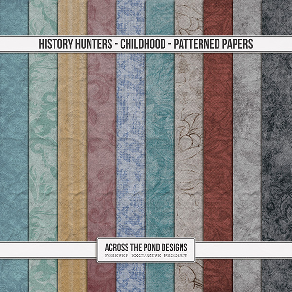 History Hunters - Childhood  - Patterned Papers Digital Art - Digital Scrapbooking Kits