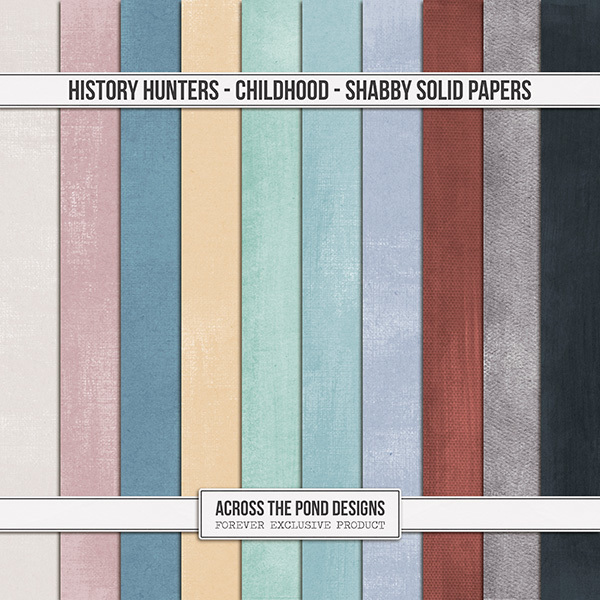 History Hunters - Childhood  - Shabby Solid Papers Digital Art - Digital Scrapbooking Kits