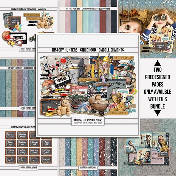 History Hunters - Childhood  - Bundle Digital Art - Digital Scrapbooking Kits