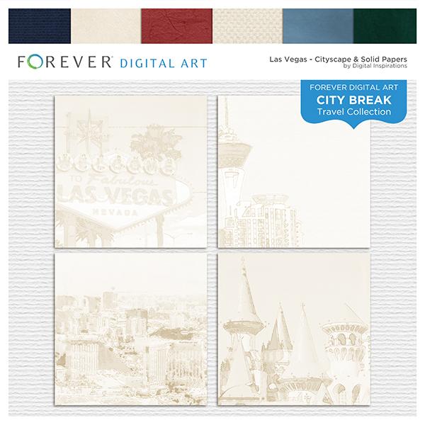 City Break - Las Vegas -  Cityscape & Solid Papers Digital Art - Digital Scrapbooking Kits