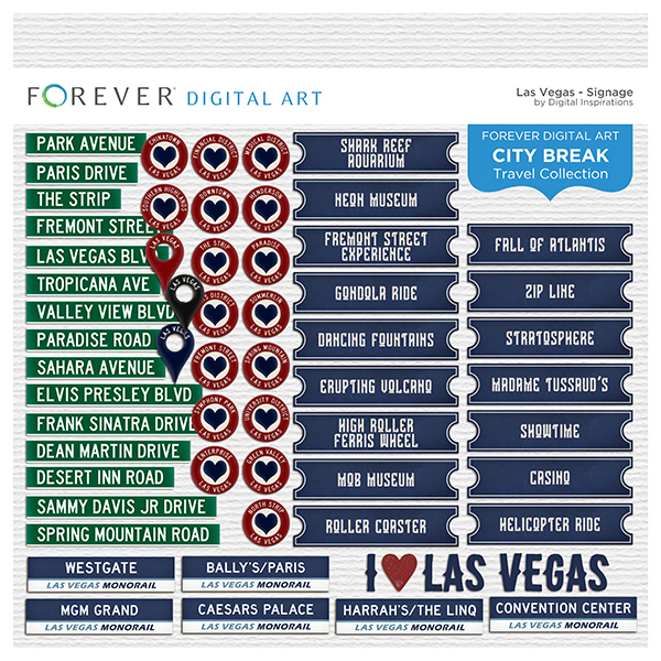 City Break - Las Vegas -  Signage Digital Art - Digital Scrapbooking Kits