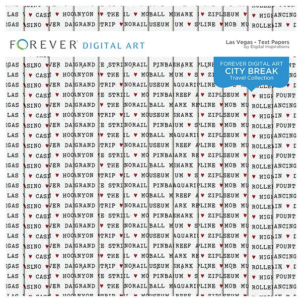 City Break - Las Vegas -  Text Papers Digital Art - Digital Scrapbooking Kits