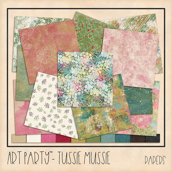 Tussie Mussie Papers Digital Art - Digital Scrapbooking Kits