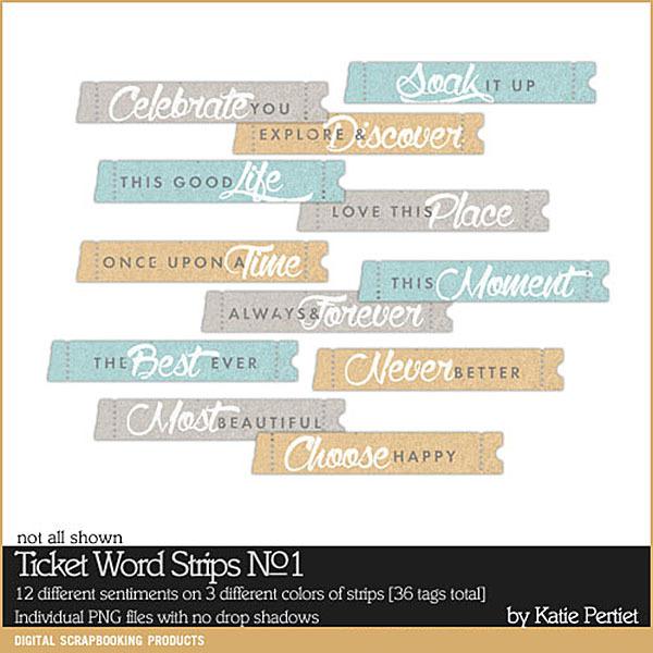 Ticket Word Strips No. 01 Digital Art - Digital Scrapbooking Kits