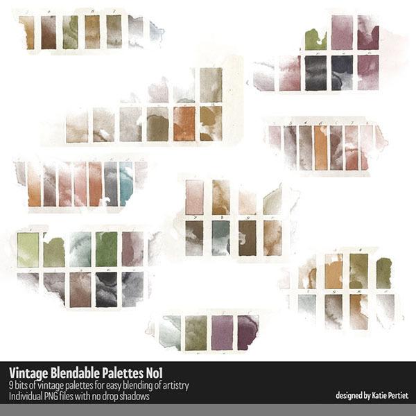 Vintage Blendable Palettes No. 01 Digital Art - Digital Scrapbooking Kits