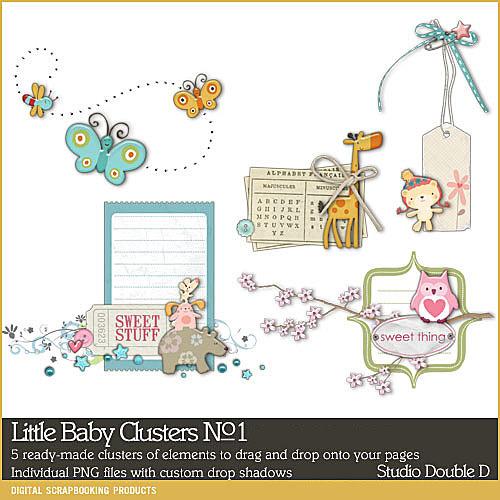 Little Baby Clusters No. 01 Digital Art - Digital Scrapbooking Kits