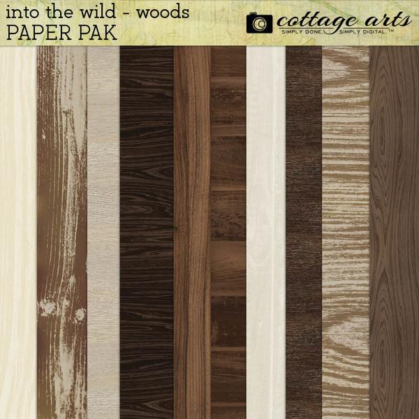 Into the Wild - Woods Paper Pak Digital Art - Digital Scrapbooking Kits