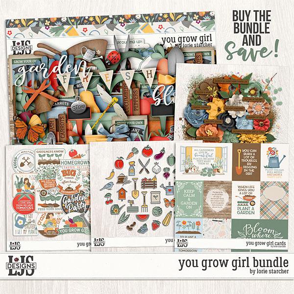 You Grow Girl Bundle Digital Art - Digital Scrapbooking Kits