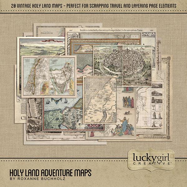 Holy Land Adventure Maps Digital Art - Digital Scrapbooking Kits
