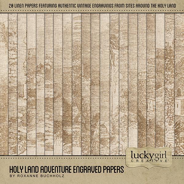 Holy Land Adventure Engraved Papers Digital Art - Digital Scrapbooking Kits