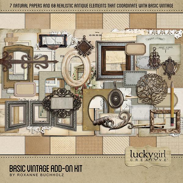 Basic Vintage Add-On Kit Digital Art - Digital Scrapbooking Kits