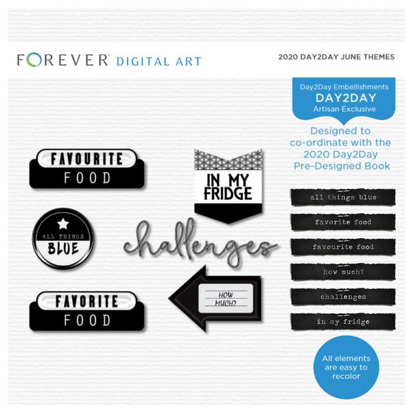 2020 Day2Day June Themes Digital Art - Digital Scrapbooking Kits