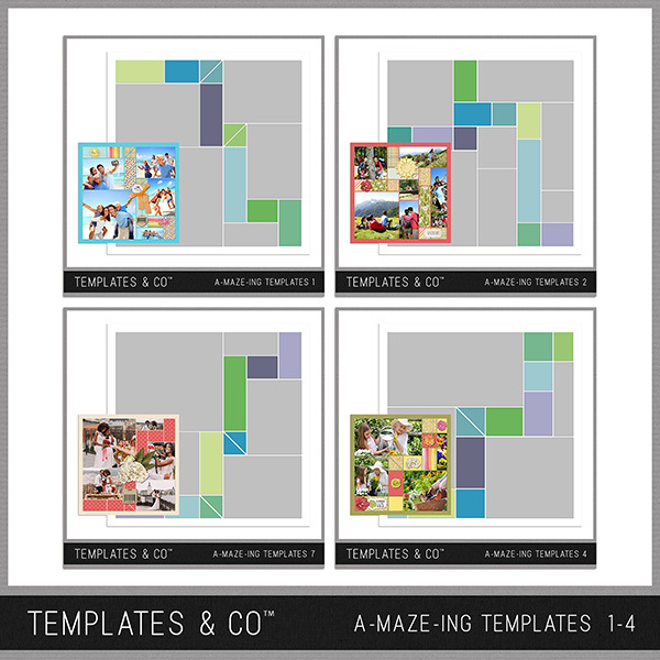 A-MAZE-ING Templates 1-4 Digital Art - Digital Scrapbooking Kits
