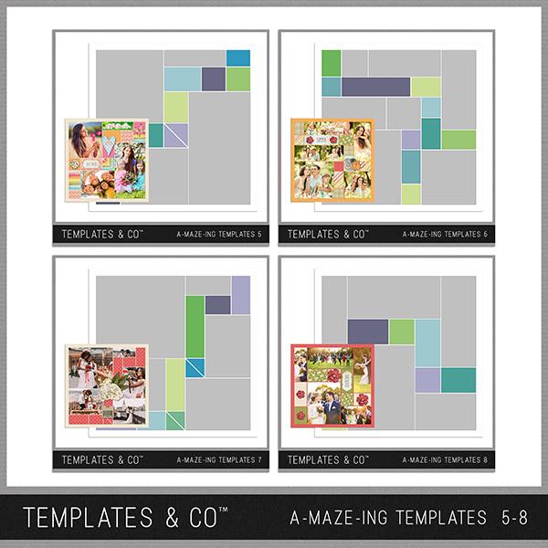 A-MAZE-ING Templates 5-8 Digital Art - Digital Scrapbooking Kits