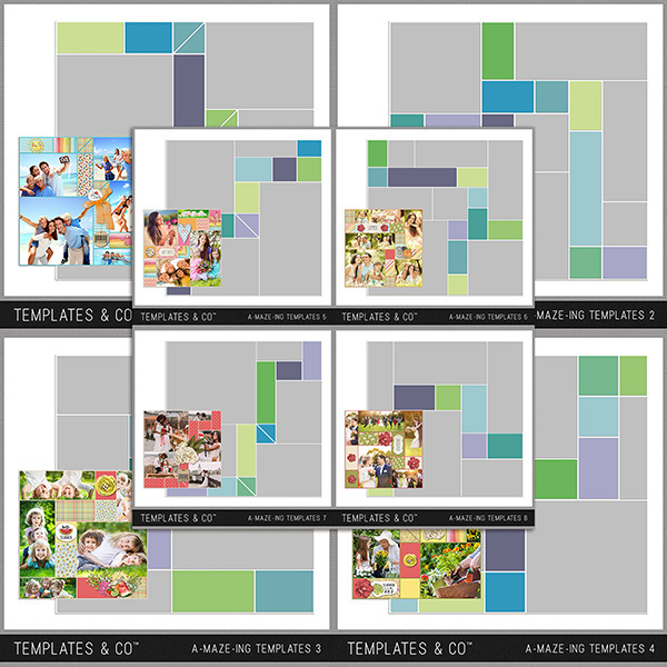 A-MAZE-ING Templates 1-8 Digital Art - Digital Scrapbooking Kits