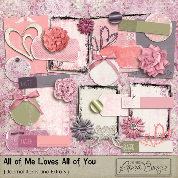 All of Me Loves All of You Journal Items Digital Art - Digital Scrapbooking Kits