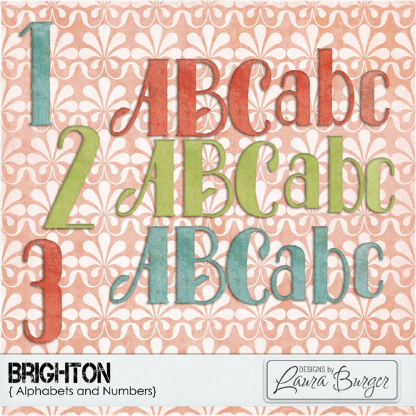 Brighton Alphabet Sets Digital Art - Digital Scrapbooking Kits