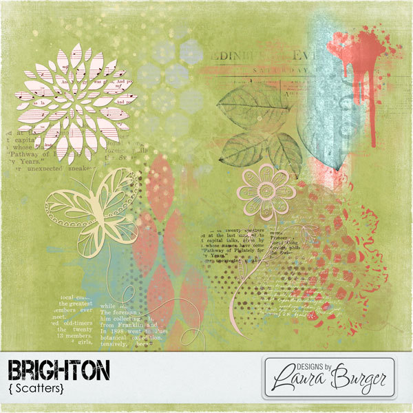 Brighton Scatter Digital Art - Digital Scrapbooking Kits