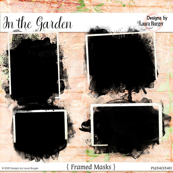 In The Garden Framed Masks Digital Art - Digital Scrapbooking Kits