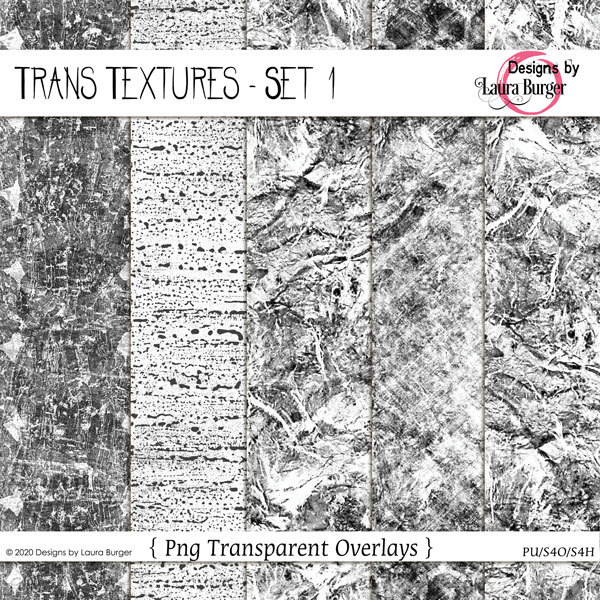 Trans Texture Set 1 Digital Art - Digital Scrapbooking Kits