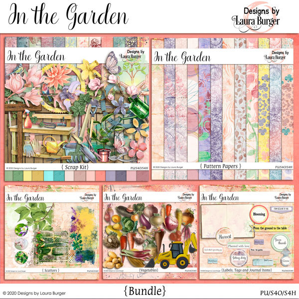 In The Garden Bundle Digital Art - Digital Scrapbooking Kits