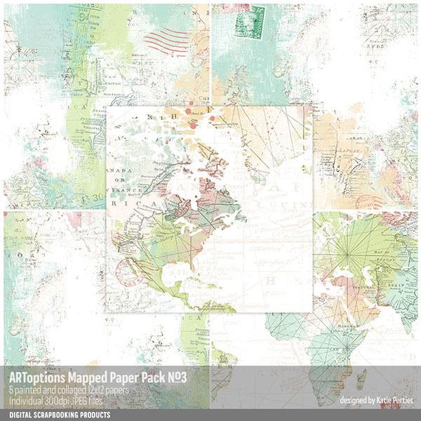 ARToptions Mapped Paper Pack No. 03 Digital Art - Digital Scrapbooking Kits