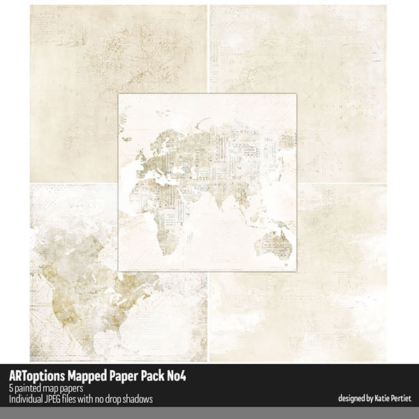 ARToptions Mapped Paper Pack No. 04 Digital Art - Digital Scrapbooking Kits