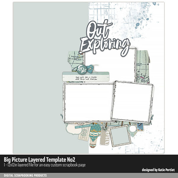 Big Picture Layered Templates No. 02 Digital Art - Digital Scrapbooking Kits