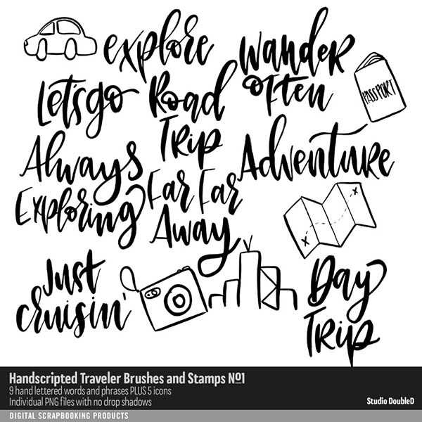 Hand Scripted Traveler Brushes and Stamps No. 01 Digital Art - Digital Scrapbooking Kits