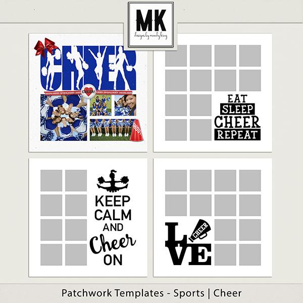 Patchwork Templates - Sports - Cheer Digital Art - Digital Scrapbooking Kits