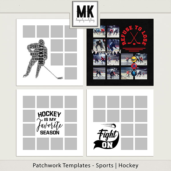 Patchwork Templates - Sports - Hockey Digital Art - Digital Scrapbooking Kits