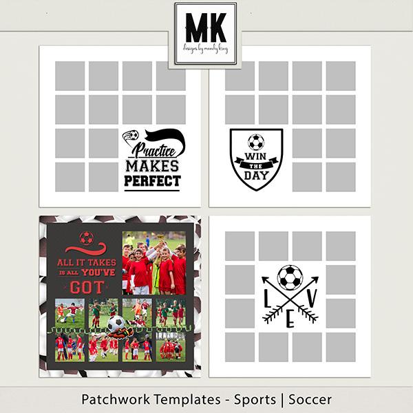 Patchwork Templates - Sports - Soccer Digital Art - Digital Scrapbooking Kits