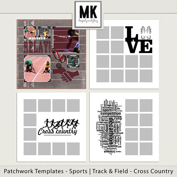 Patchwork Templates - Sports - Track & Field - Cross Country Digital Art - Digital Scrapbooking Kits