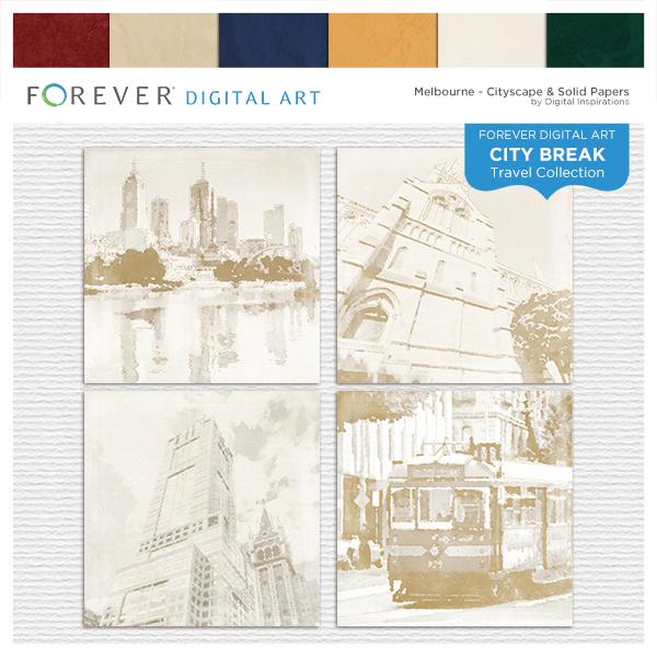 City Break - Melbourne -  Cityscape & Solid Papers Digital Art - Digital Scrapbooking Kits