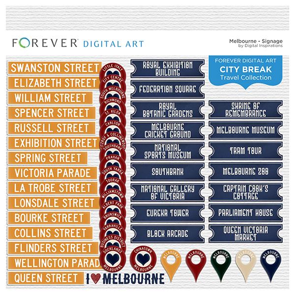 City Break - Melbourne -  Signage Digital Art - Digital Scrapbooking Kits