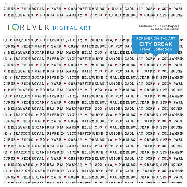 City Break - Melbourne -  Text Papers Digital Art - Digital Scrapbooking Kits