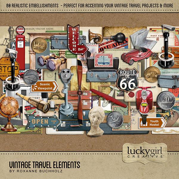 Vintage Travel Elements Digital Art - Digital Scrapbooking Kits