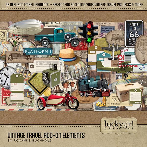 Vintage Travel Add-On Elements Digital Art - Digital Scrapbooking Kits