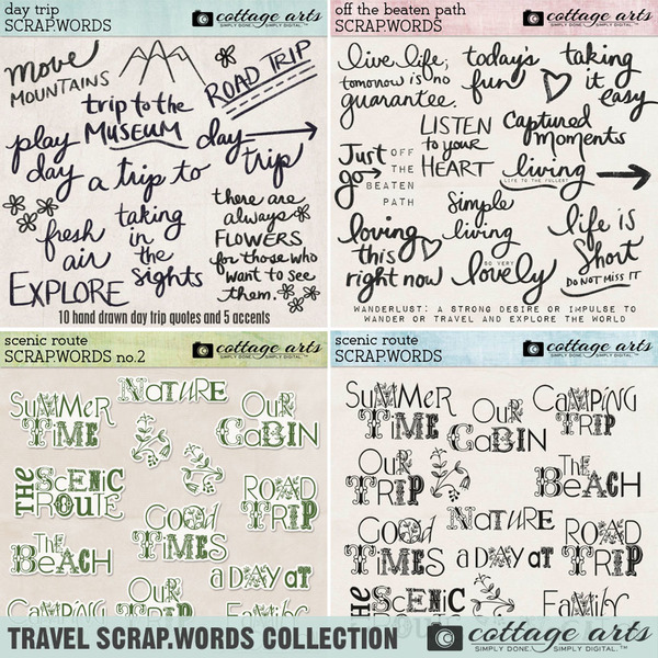Travel Scrap.Words Collection Digital Art - Digital Scrapbooking Kits